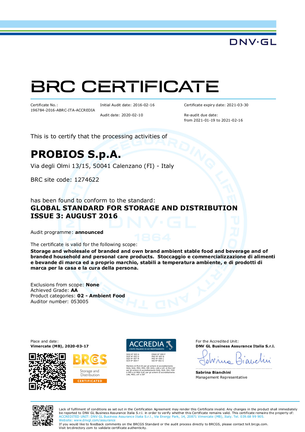 BRC Global Storage and Distribution – Probios