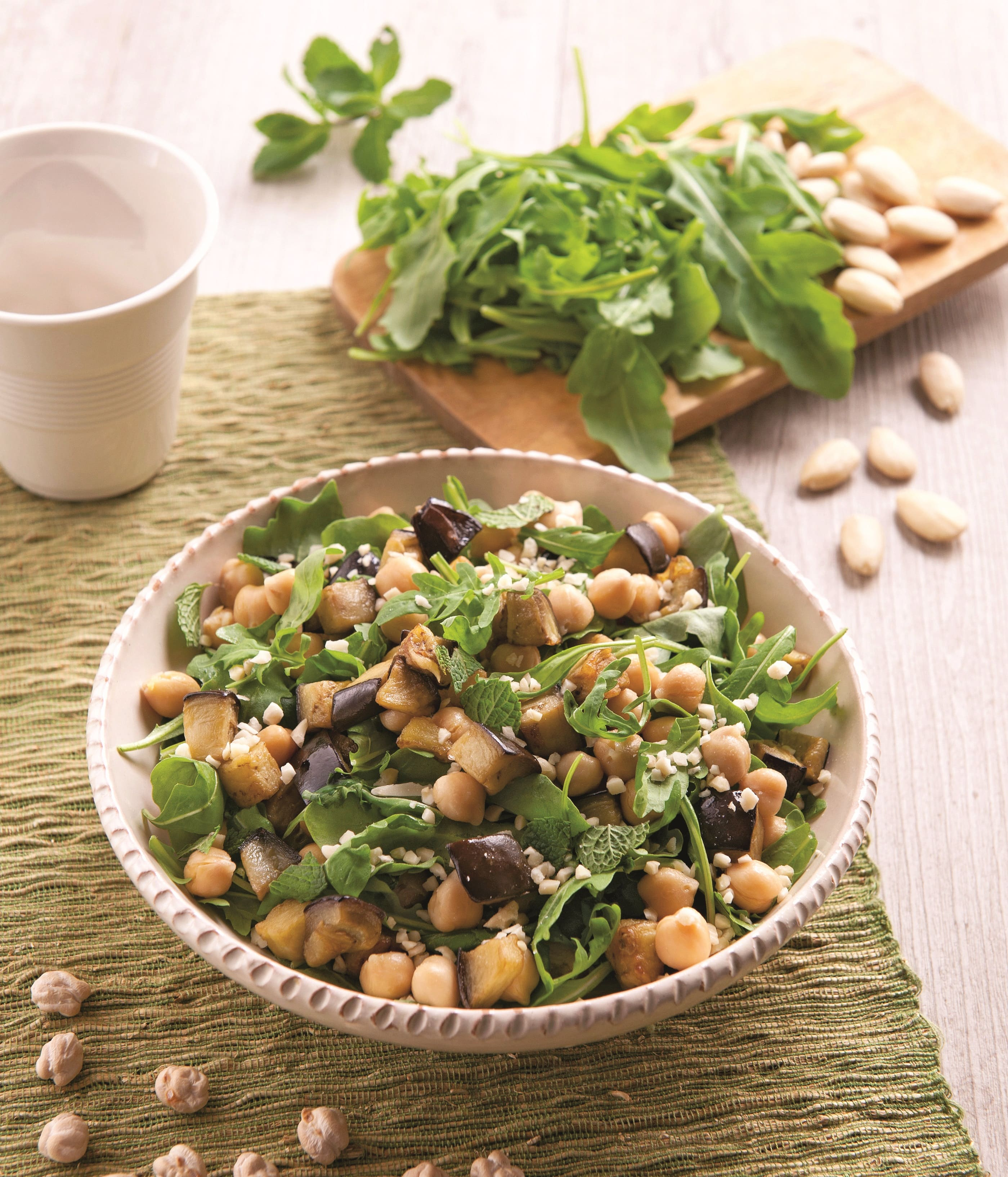 chickpeas-eggplants-rocket-almond-salad