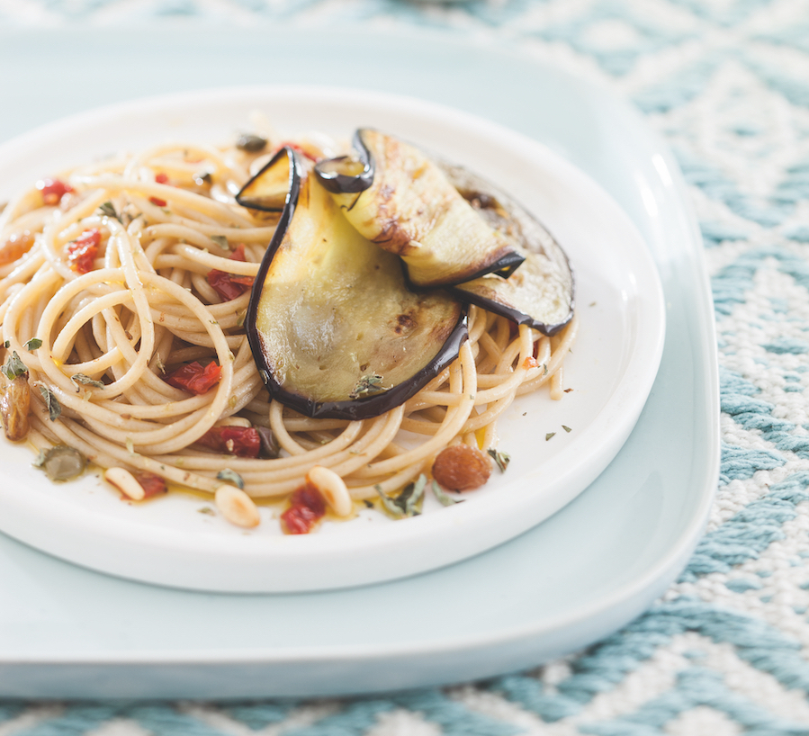 whole-spaghetti-dried-tomatoes-fried-aubergines