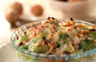Gratin of Brussels Sprouts with Gorgonzola and Walnuts