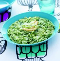 Risotto with Nettles and Scamorza Cheese