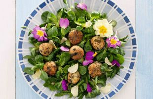 Cous cous and Dandelion Croquettes with Salad and Flowers