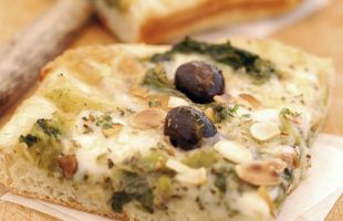 Pizza with Salad, Taleggio Cheese, Almonds and Black Olives
