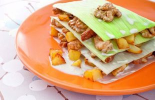 Millefeuille of Leeks with Nuts, Potatoes and Tempeh